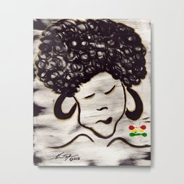Curly Fro Metal Print