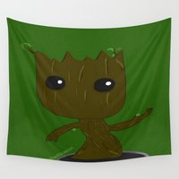 groot Wall Tapestries featuring Baby Groot by ItalianRicanArt