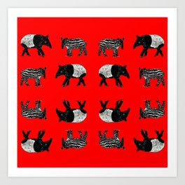 Dance of the Tapirs in red Art Print