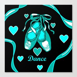 Love to Dance Teal Ballet Shoes Canvas Print