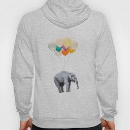 Dreaming Elephant Flying, Animal Zoo Nursery Photo, Large Printable Birthday Party Wall Art, Ballons Hoody