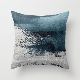 Navy Blue Silver Gray Abstract Painting Throw Pillow