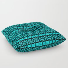 Abstract Pattern Dividers 02 in Turquoise Black Floor Pillow