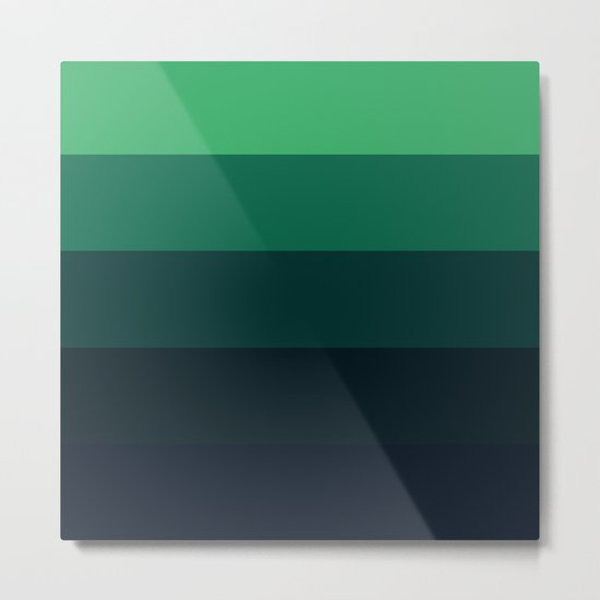 Forest Green Stripes Metal Print