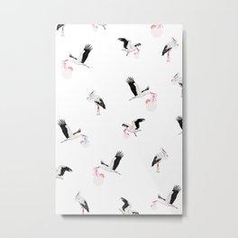 Stork birds pattern baby nursery Metal Print