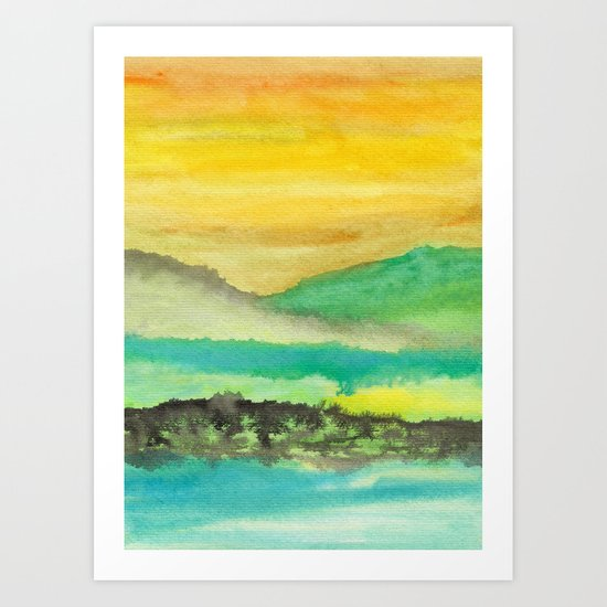 Watercolor abstract landscape 06 Art Print