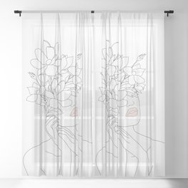Minimal Line Art Woman with Magnolia Sheer Curtain