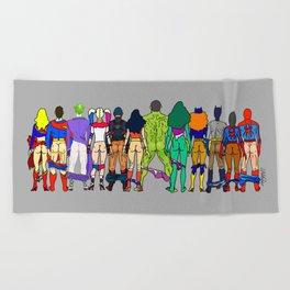 Superhero Butts - Power Couple on Grey Beach Towel