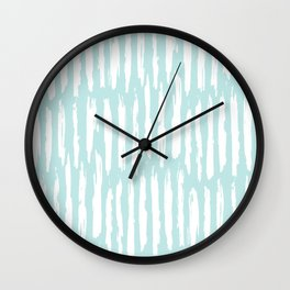 Vertical Dash Stripes White on Succulent Blue Wall Clock