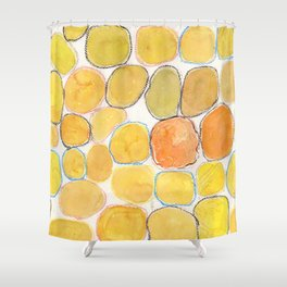 Cheerful orange Gathering Shower Curtain