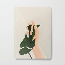 Monstera in Fingers Metal Print