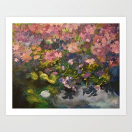 Pond with flowers Art Print