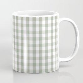 Desert Sage Grey Green and White Gingham Check Coffee Mug