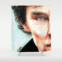 benedict Shower Curtains featuring Benedict Cumberbatch - Sherlock  by Cécile Pellerin
