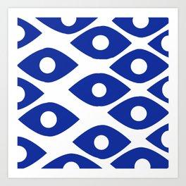 Blue and White Pattern Fish Eye Design Art Print