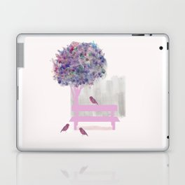 Park bench tree and birds Laptop & iPad Skin
