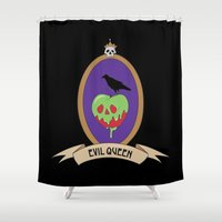 evil queen Shower Curtains featuring EVIL QUEEN - Apple and Raven by ElphieBess-Art