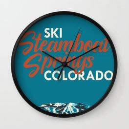 Steamboat Springs Vintage Ski Poster Wall Clock