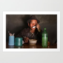 True Happiness - Tibetan man drinking soup Art Print