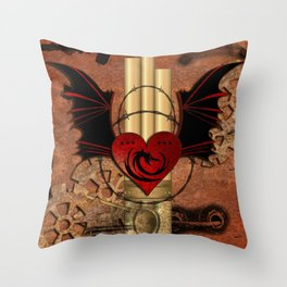 Heart with dragon and wings Throw Pillow