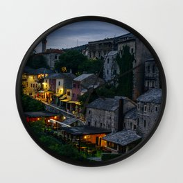 Night Mostar city Wall Clock