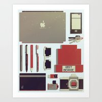 8bit Art Prints featuring 8Bit Handbag by Thecansone
