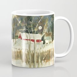 Hibernation // Winter Landscape Watercolor Painting // Farm Life Coffee Mug