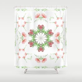 Symmetrical watercolor fynbos pattern Shower Curtain