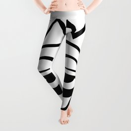 Black and White Afro-mask Leggings