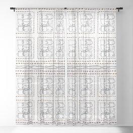 Coffee Beans and Mugs Sheer Curtain