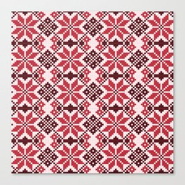 Romanian Traditional Embroidery - Red Canvas Print