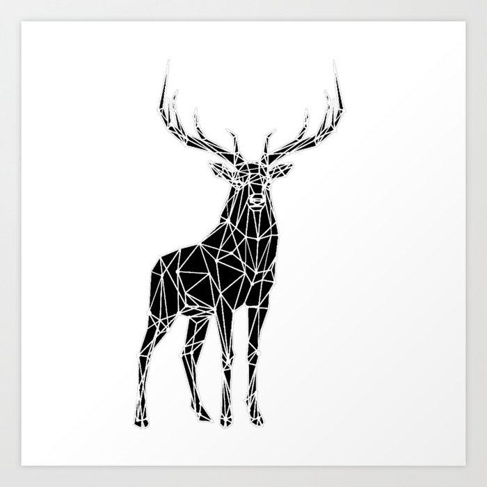 Geometric Purple Deer Wall Art Print Modern Poster Buck: Black & White Geometric Deer Art Print By Maryedenoa