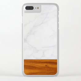 Marble and Wood 2 Clear iPhone Case