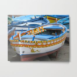 Colorful Boats at Sicily Italy Metal Print