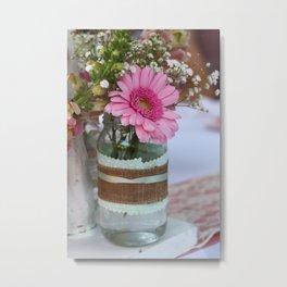 Pink flower in shabby chic vase Metal Print
