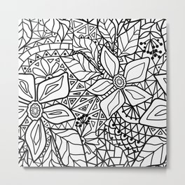 Black and white lace pattern 2 Metal Print