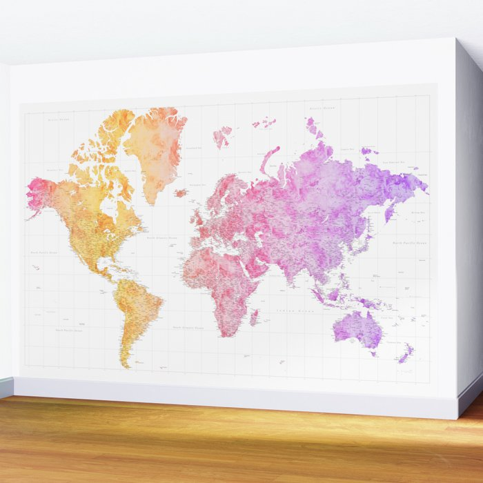 Colorful gradient highly detailed world map with cities, Missy Wall Mural