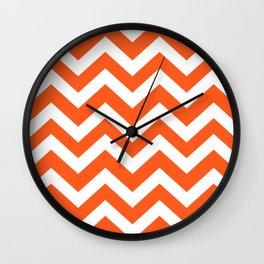 Giants orange - orange color - Zigzag Chevron Pattern Wall Clock