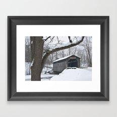 Fine Art Photograph of the Fallsburg Bridge in Winter Framed Art Print