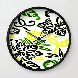 Green & Yellow Japanese Leaf Pattern Wall Clock