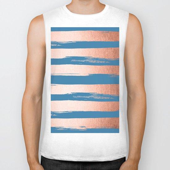 Trendy Stripes Sweet Peach Coral Pink + Saltwater Taffy Teal Biker Tank