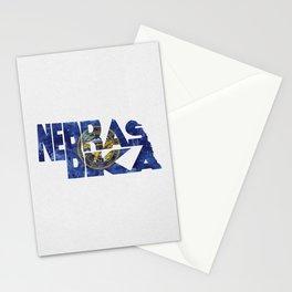 Nebraska Typographic Flag Map Art Stationery Cards