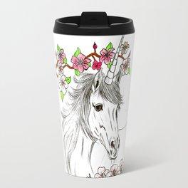 Unicorn and flowers Travel Mug