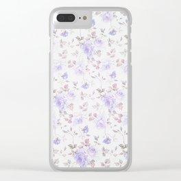 Lavender gray elegant vintage roses floral Clear iPhone Case