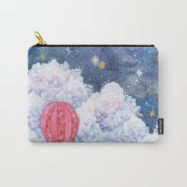 Rise Above | Night Sky Hot Air Balloon Illustration | Watercolor | Galaxy Carry-All Pouch