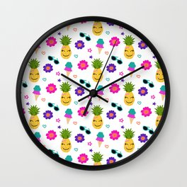 summer pineapple print Wall Clock