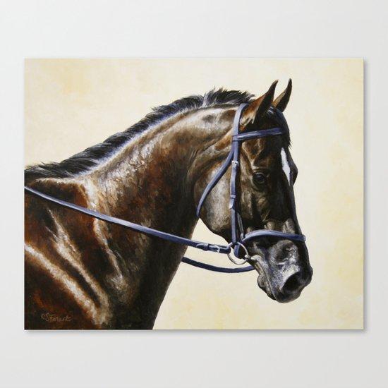 Dark Bay Dressage Horse Portrait Canvas Print