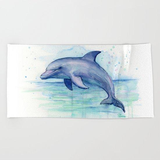 Dolphin Watercolor Sea Creature Animal Beach Towel