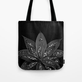 Gray Black Agave with Black Silver Glitter #2 #shiny #tropical #decor #art #society6 Tote Bag