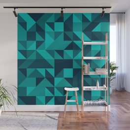The bottom of the ocean - Random triangle pattern in shades of blue and turquoise  Wall Mural